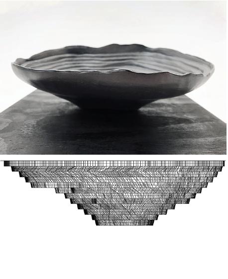 Dana Prieto,  1:10000 Bajo la Alumbrera , 2018. Glazed black stoneware, wooden box, gold leaf engraving and soil contaminated by Bajo de la Alumbrera mine, 22 x 22 x 12 cm. Coutesy of Dana Prieto