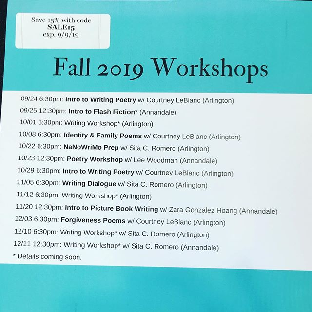 Save 15% on The Writer's Passage workshops with code SALE15 till tomorrow the 9th at midnight.  Registration at writerspassage.com