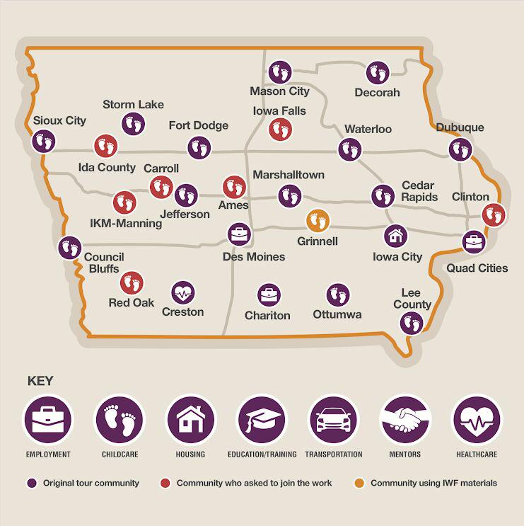 La Fundación de Mujeres de Iowa estableció el Fondo de Soluciones para el Cuidado Infantil que se invierten en organizaciones e instituciones que se centran en estrategias para aumentar la seguridad económica de las mujeres.