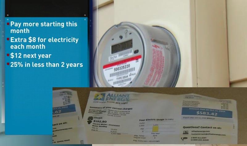 Resumen de lo que podría ser el aumento de la tarifa de energía eléctrica por parte de Alliant Energy.