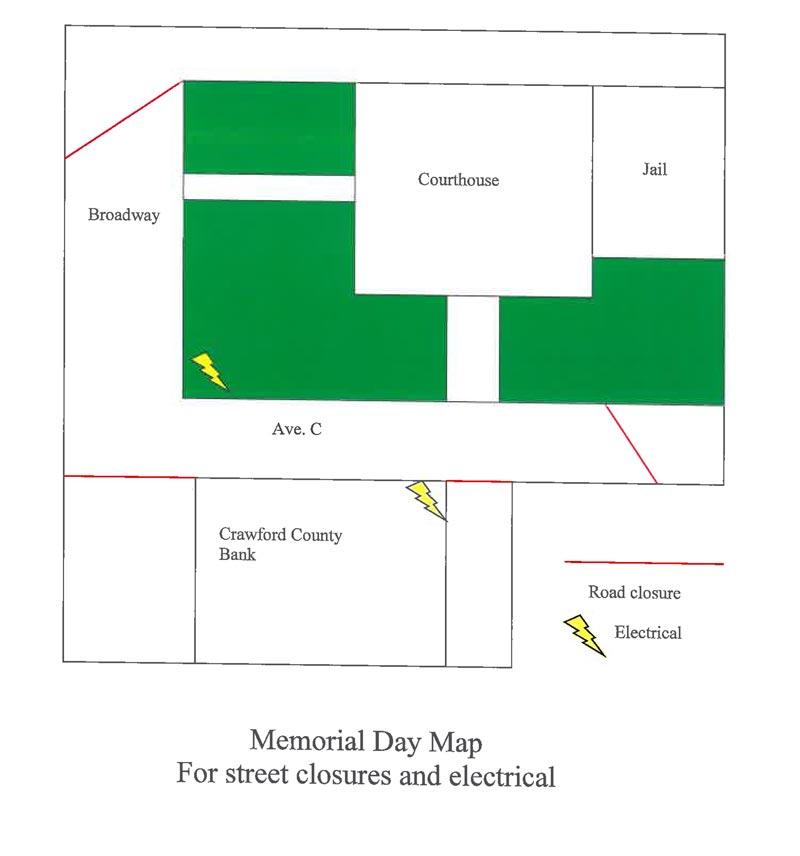 El diagrama muestra las calles que el Departamento de Policía no permitirá estacionamiento vehícular desde el domingo 26 por la tarde, para tener listo el lugar para la celebración del Día de los Caídos.