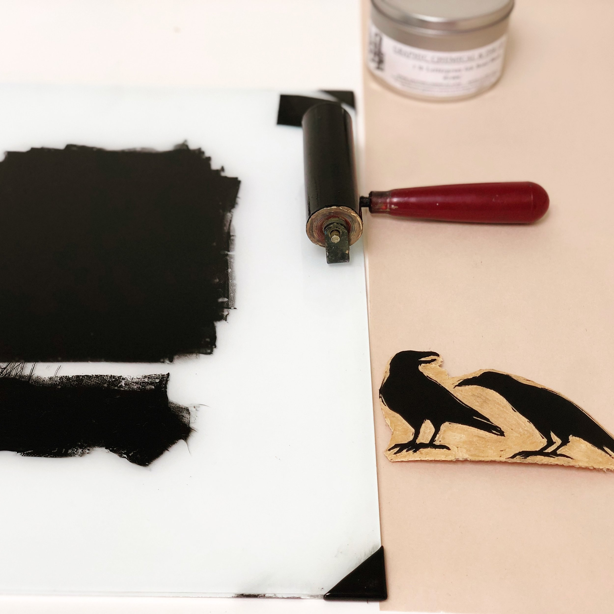 Rolling ink onto a carved block