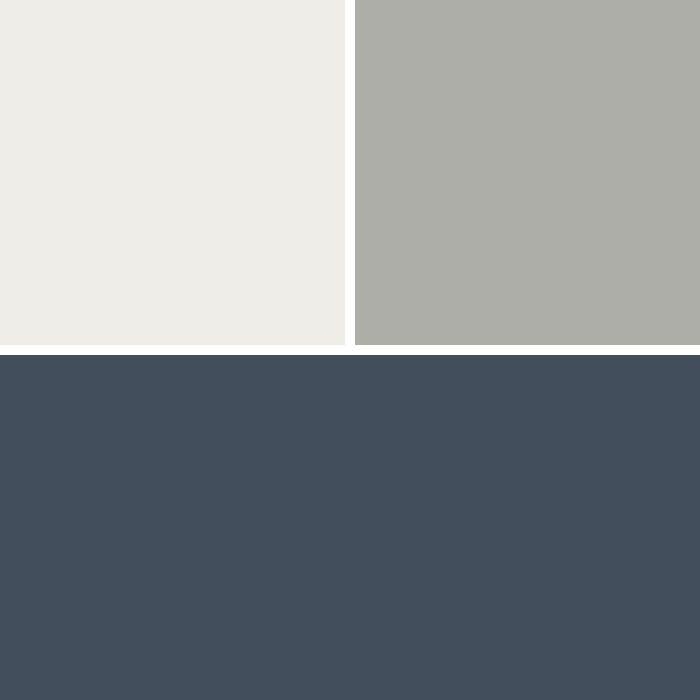 White, Light Gray Metal & Navy Blue