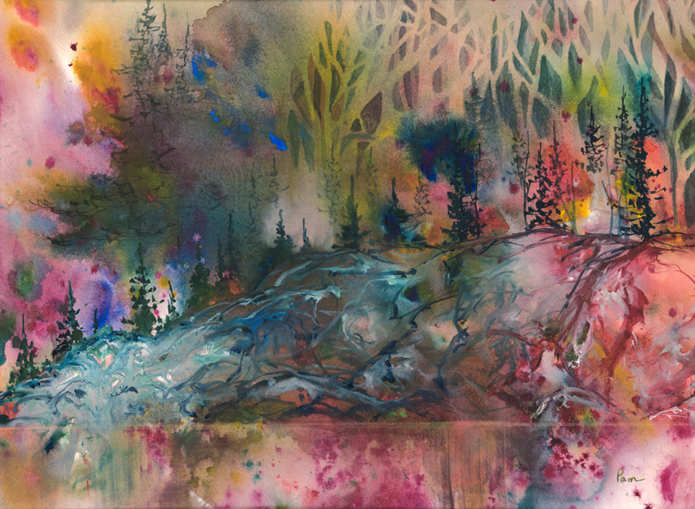Emerging Forest       Watercolour Original in Private Collection   Available in Reproduction in yoga tights, and hat and print