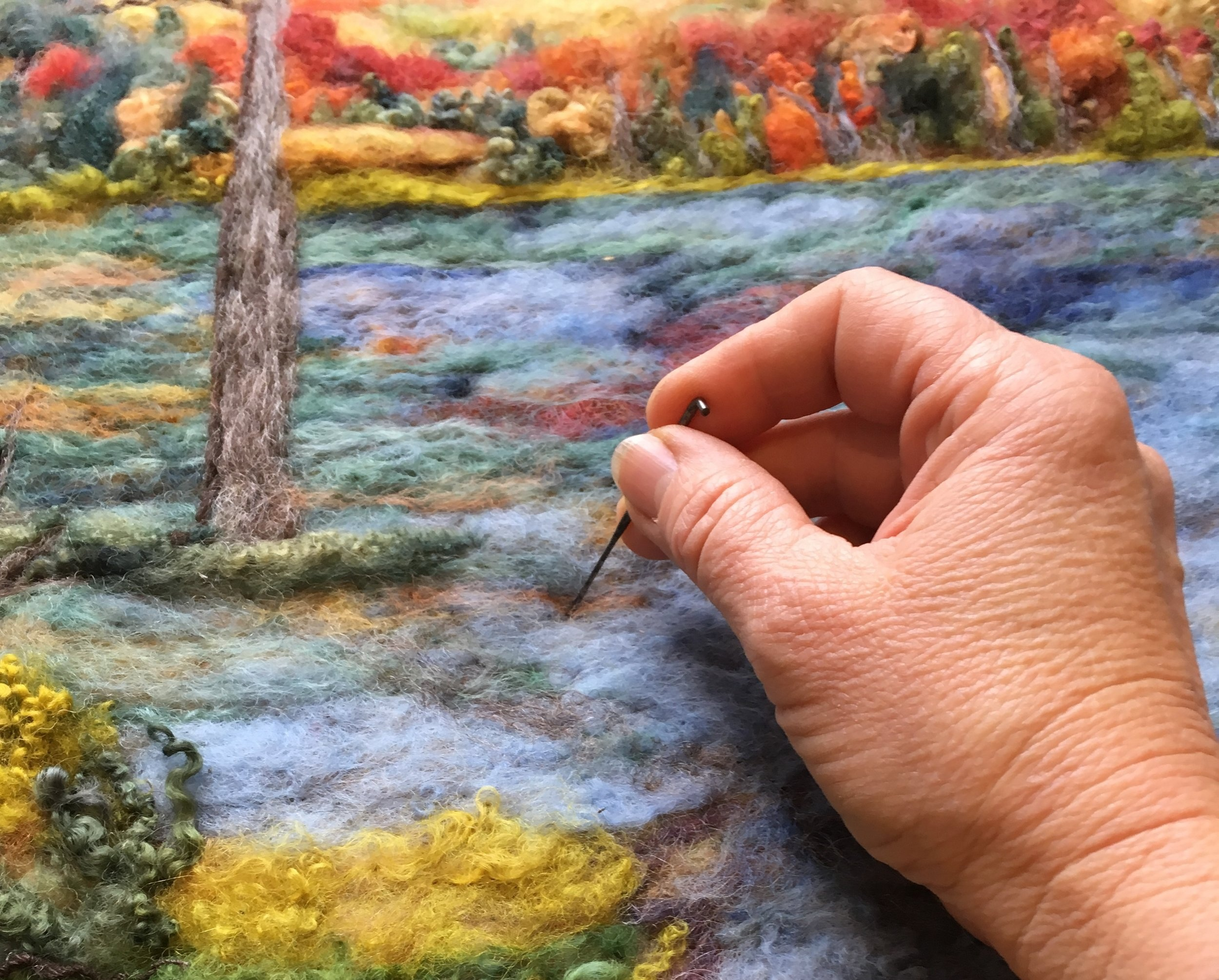 Try a unique new art form that Pam has developed called Watercolour with Wool