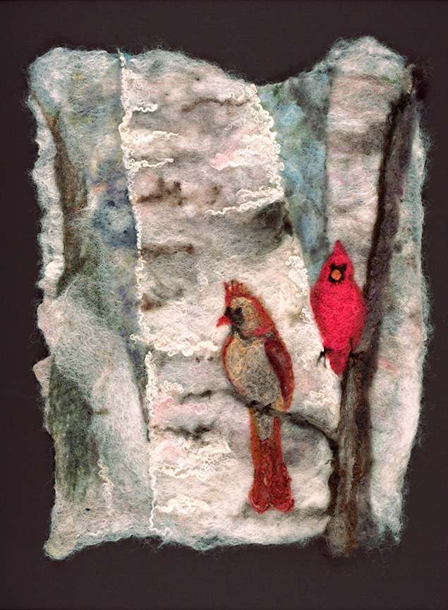 """Checking Her Tail Feathers    Original Watercolour with Wool   $1100 . 26""""x31"""""""