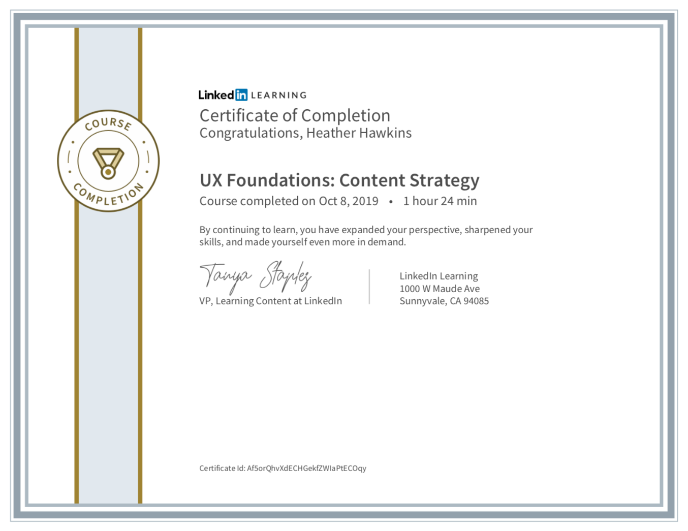 Certificate of completion from LinkedIn Learning. UX Foundations: Content Strategy.