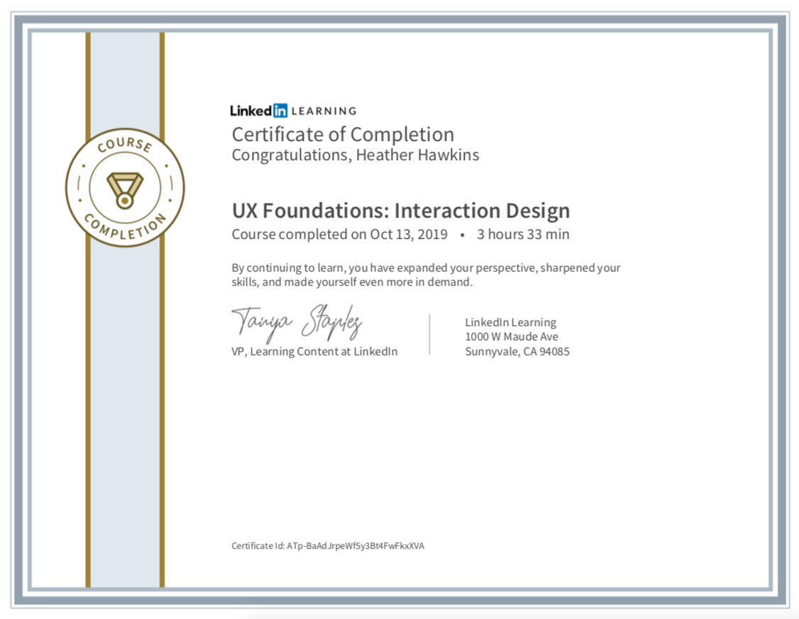 Certificate of completion from LinkedIn Learning. UX Foundations: Interaction Design