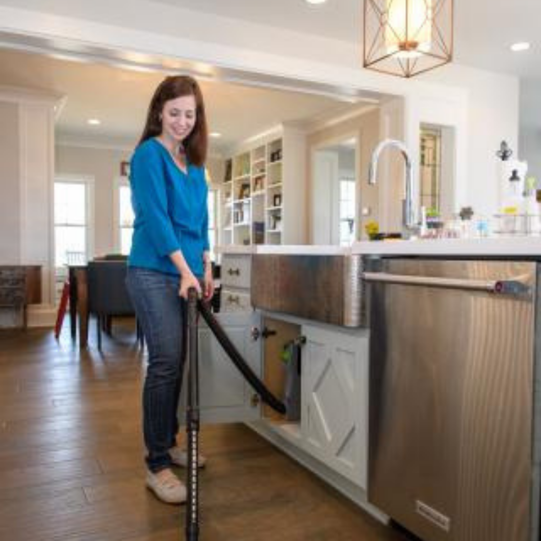 vroom® - This tool installs in standard cabinets and turns on automatically when you life the handle. It reaches 24' to clean dry messes off countertops, floors, drawers and appliances. It retracts automatically when you're done!