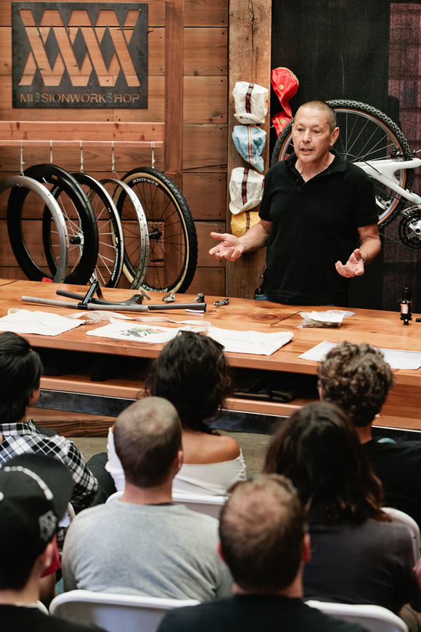 We asked pioneers how this all came about. - In my effort to launch the Acre brand, I needed a better understanding of Mountain Biking. It's been around for only a handful of decades, and those who made it happen are still around for the most part, so we asked them. A couple of guys at Bike Magazine, Mark Milutin and Morgan Meredith were not only supportive of this they also had all the connections to bring the founders of iconic MTB brands to tell their story and take questions from a not only the live audience, but from social media as well for those able to watch the live feed no matter where they were in the world. Trek for instance, used this Ask A Founder talk with Keith Bontrager to better inform their UK team about this legendary engineer and his unbreakable bikes. Photo by the hardest working photographer I know, John Watson. Jump to the Conversations page for highlights of the Ask A Founder talk series.