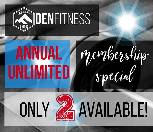 🔊This just in! We have 2 Unlimited Annual Membership specials up for grabs! Don't miss out on this huge savings opportunity! 🏋️‍♀️🧘🏻‍♀️💪🏼 If you are interested, send us a DM for details!!