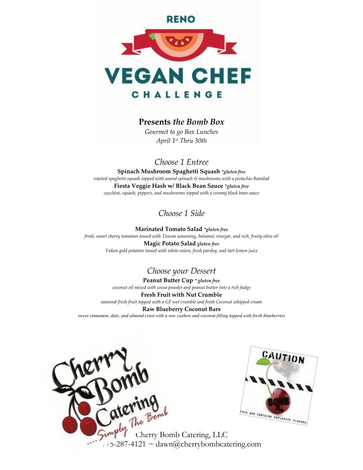 Cherry Bomb Catering — Reno Vegan Chef Challenge