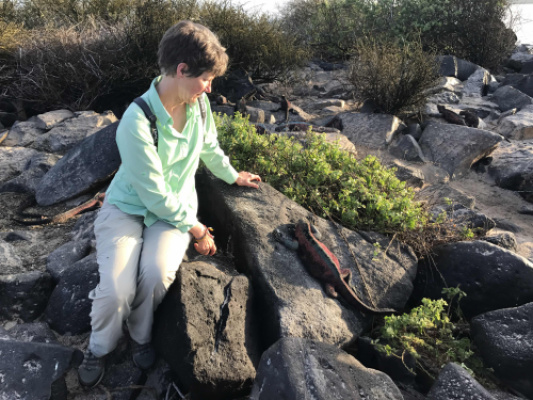 With a marine iguana in the Galápagos