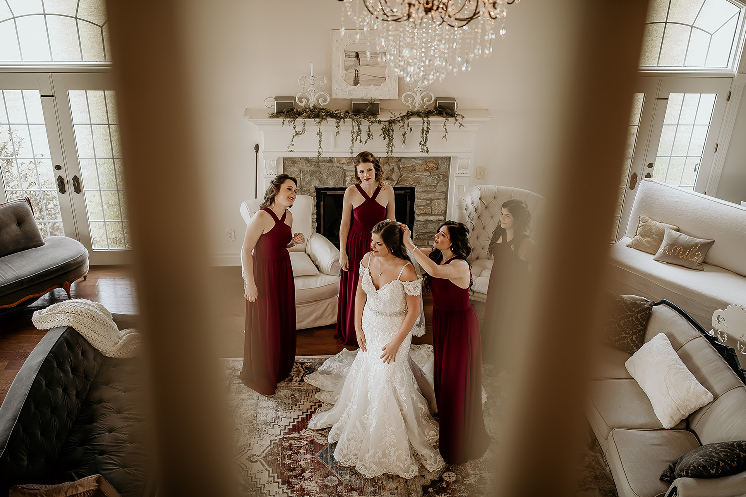 Bride and Bridesmaids in Red Dresses Get Dressed in Elegant Home