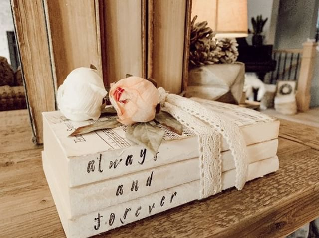 Romantic Book Stack - Victoria is one of my great new friends from the amazing home decor community over on Instagram. She has such a beautiful, classic style that just draws you in. I am in love with this beautiful stack of personalized books she made for Valentine's Day.