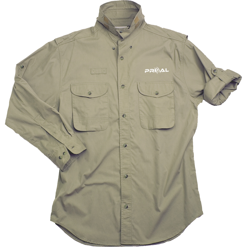 Escape - The long sleeve Escape fishing shirt is a lightweight 4.5 oz. 100% cotton poplin.The Escape fishing shirt features2 buttoned bellows pockets7 wood tone button placketPolyester mesh for ventilationRear cape w/ fabric hook and loop closureUtility loopRoll-up sleeve tabsFlip-up sunshade collar w/ fabric hook and loop closureComes in Sand, Ocean, Moss, and White.