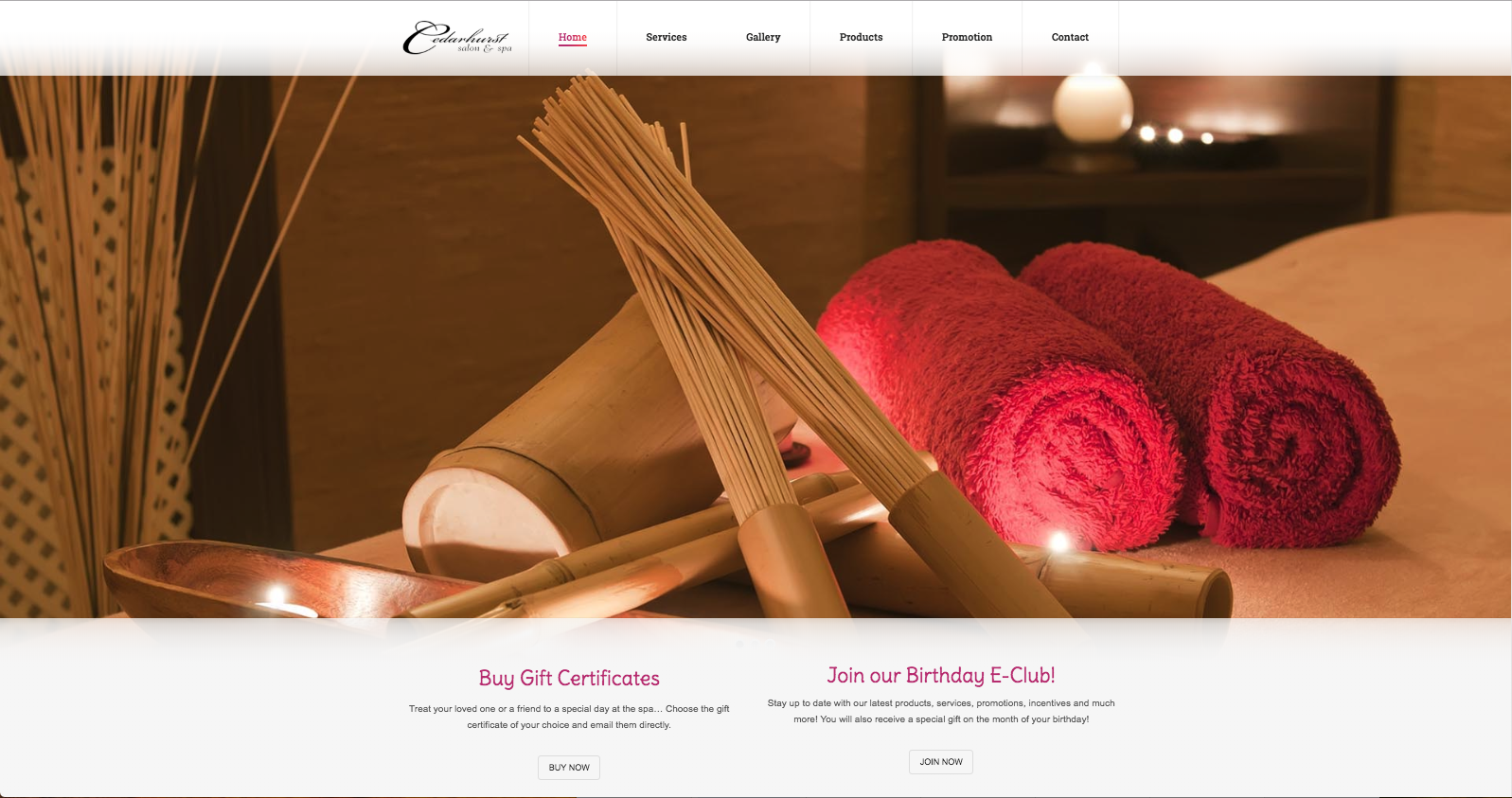 Cedarhurst Salon & Spa  in Ontario, Canada uses separate pages for the content on their website.