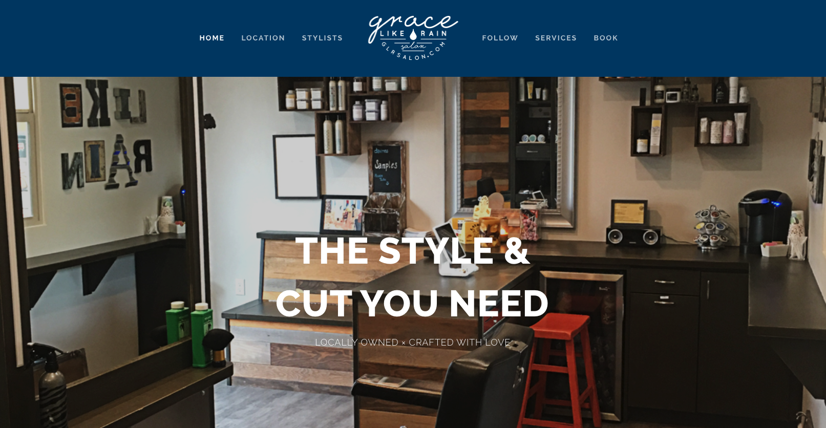 Grace Like Rain Salon  uses the all-on-one page approach to their website.