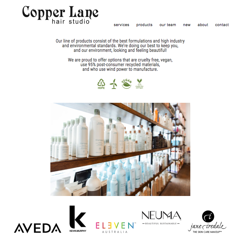 Copper Lane Hair Studio  displays the brands they carry and includes a blurb about the brands.