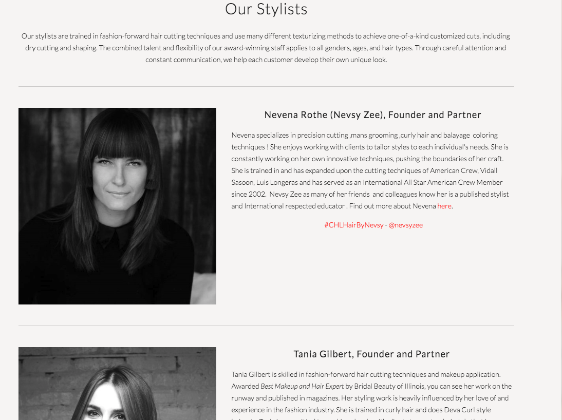 Custom Hair Lounge  shows off their style team by showing a portrait along with a quick bio.