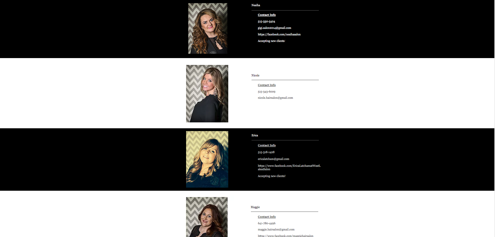 It will take you to a contact page for each stylist and it is up to the client to call or email.