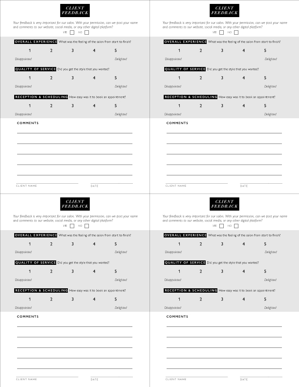 Quarter Page Client Feedback Cards x4