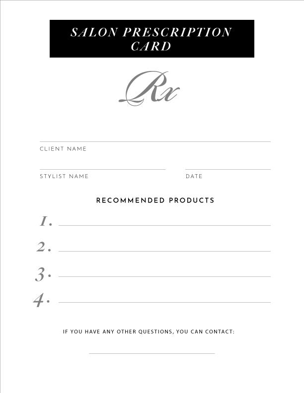 Full Page Prescription Card