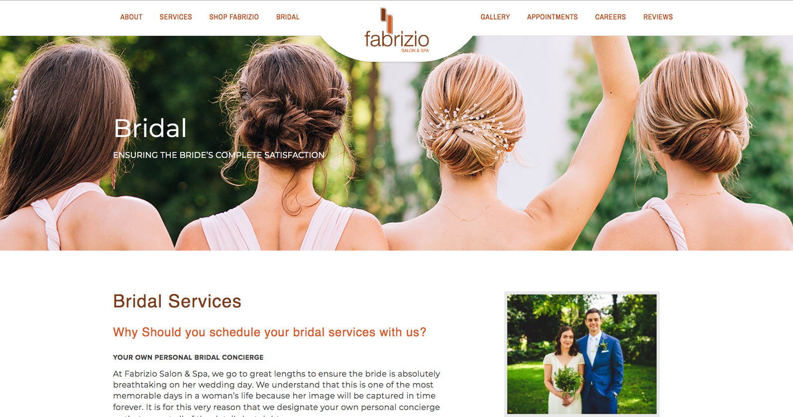 Fabrizio Salon & Spa  dedicates a page to their bridal services.