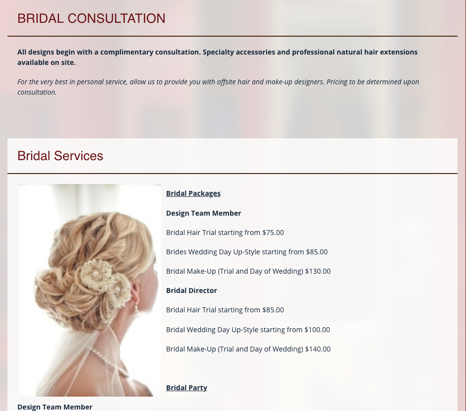 Evolution Salon & Spa  provides all the wedding/bridal information you need to book an appointment.