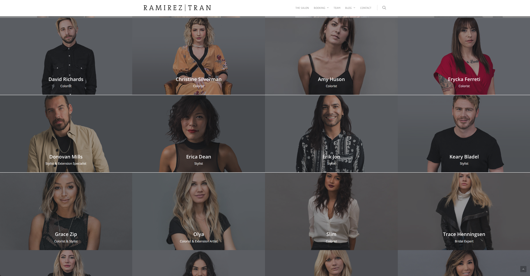 Ramirez | Tran Salon  does a great job making their stylists the stars of the website.