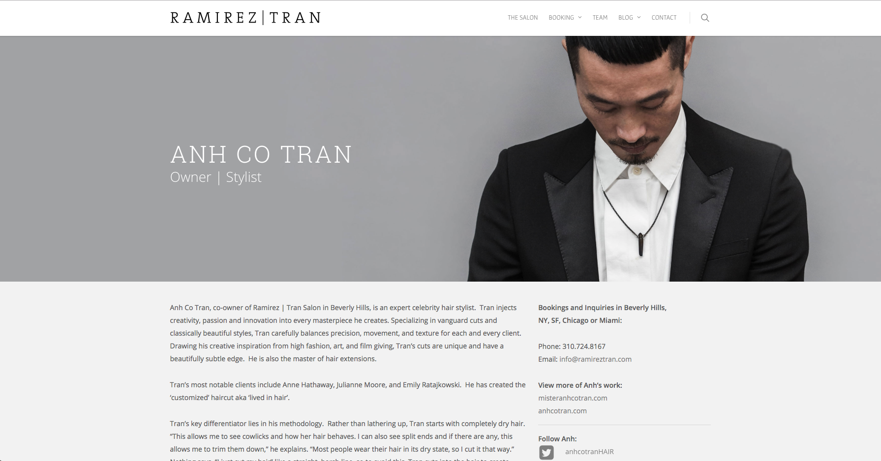 Each stylist at  Ramirez | Tran Salon  's website , has a page dedicated to them.