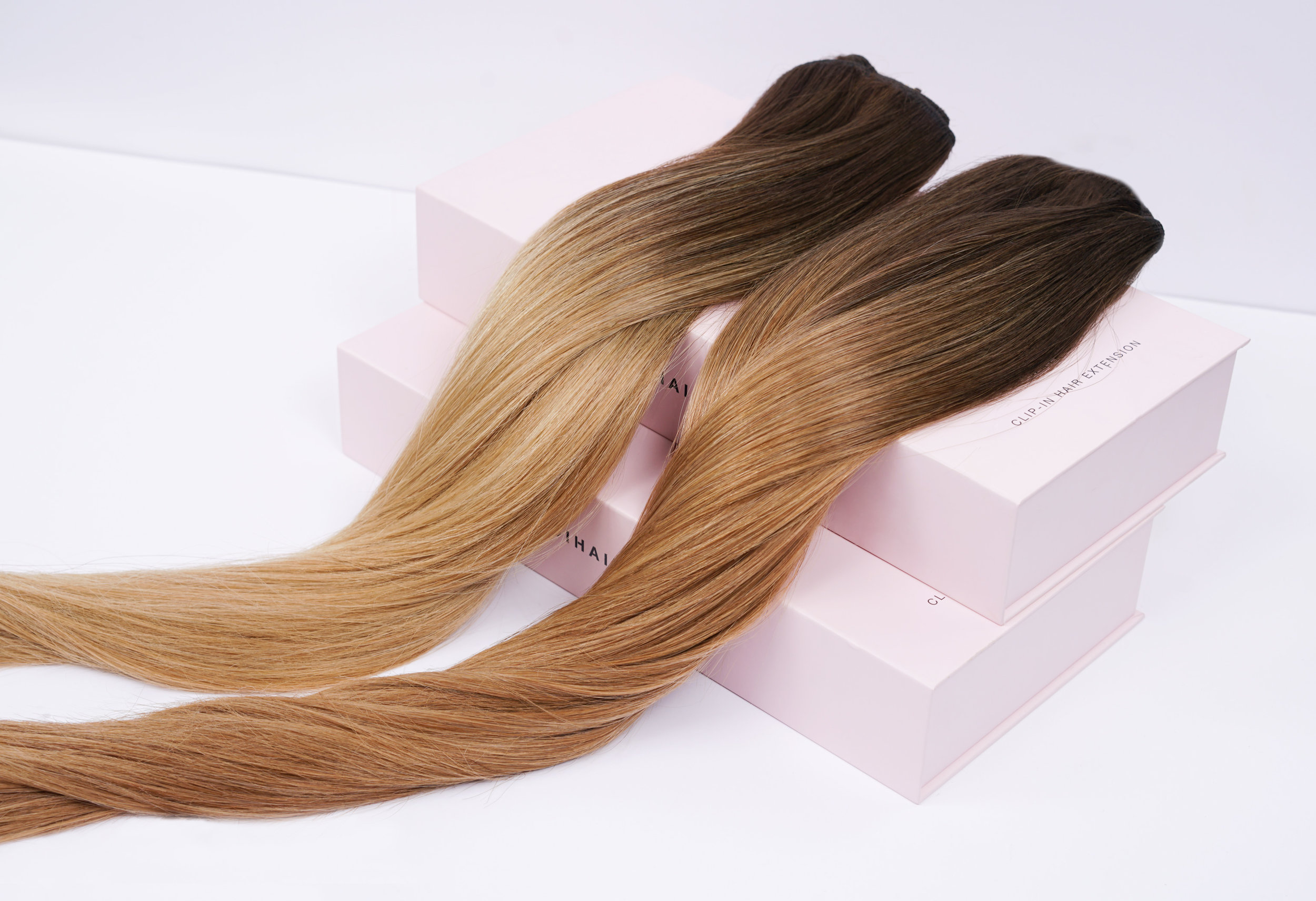 Joi Hair Clip-Ins in beautiful balayage colors.