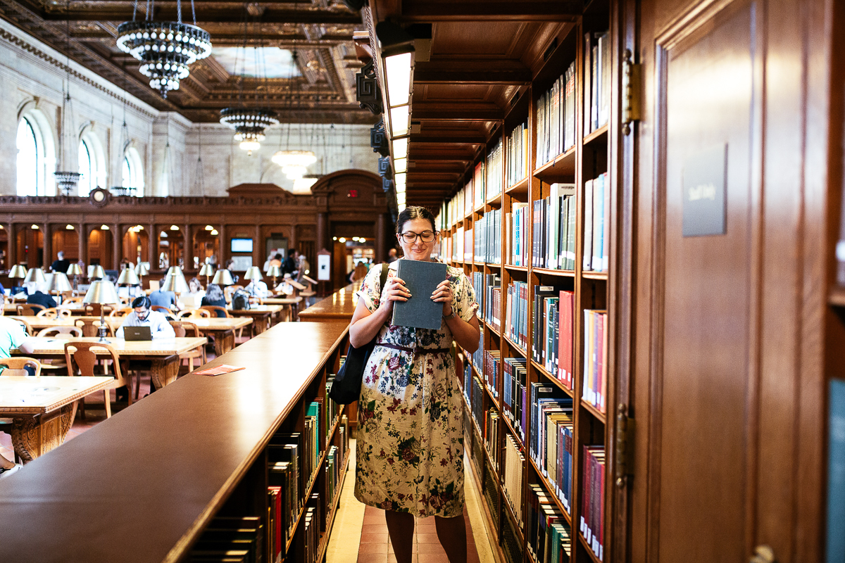 Smelling beautiful old books in the Rose Main Reading Room <3 Photo by  Andy Nichols