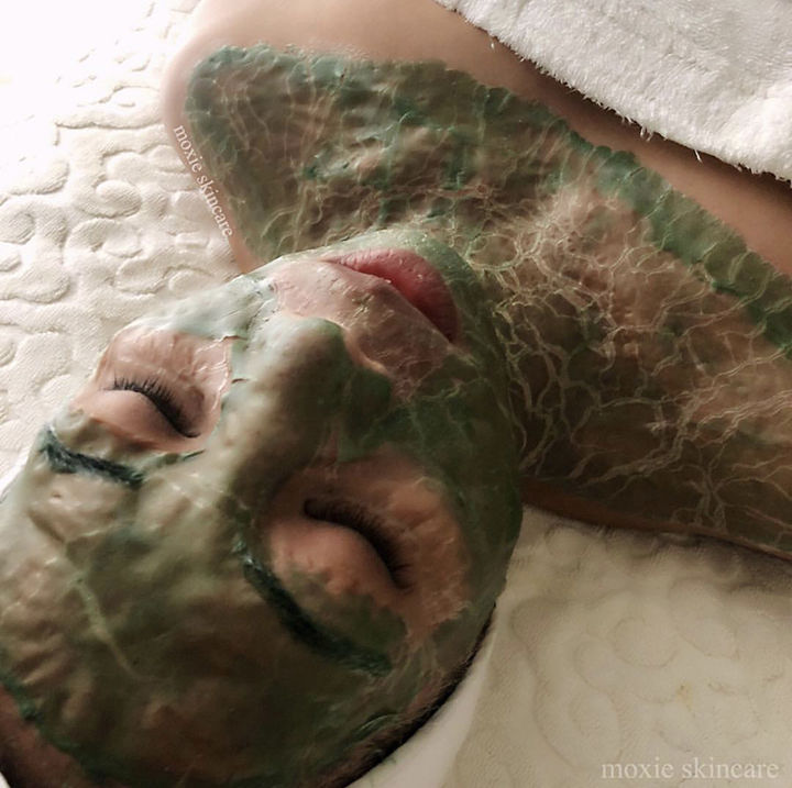 """This hulk-green muscle banding Enzyme Therapy mask (also know as the """"Game of Thrones Facial""""), is the ultimate age management facial treatment that exercises the muscles in your face without you having to lift a finger. Muscle banding is about acting in advance to prevent the one of aging."""