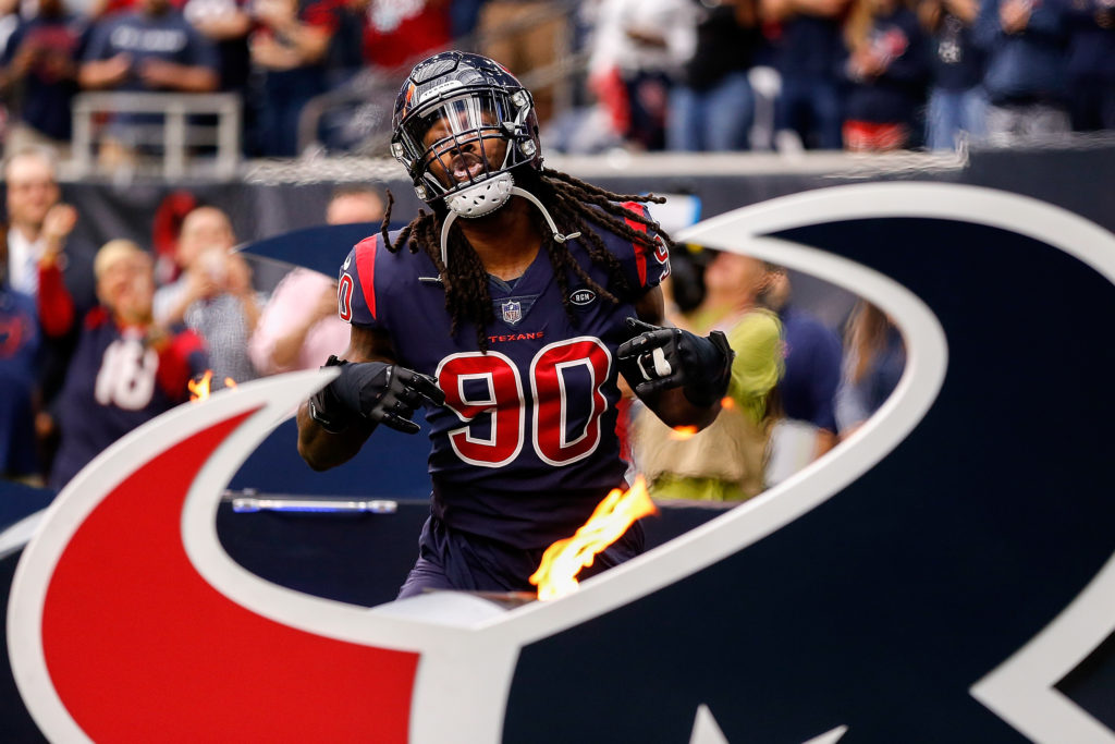 Jadeveon Clowney - Per multiple reports, The Houston Texans are shopping their star pass rusher, Jadeveon Clowney, due to contract disputes.