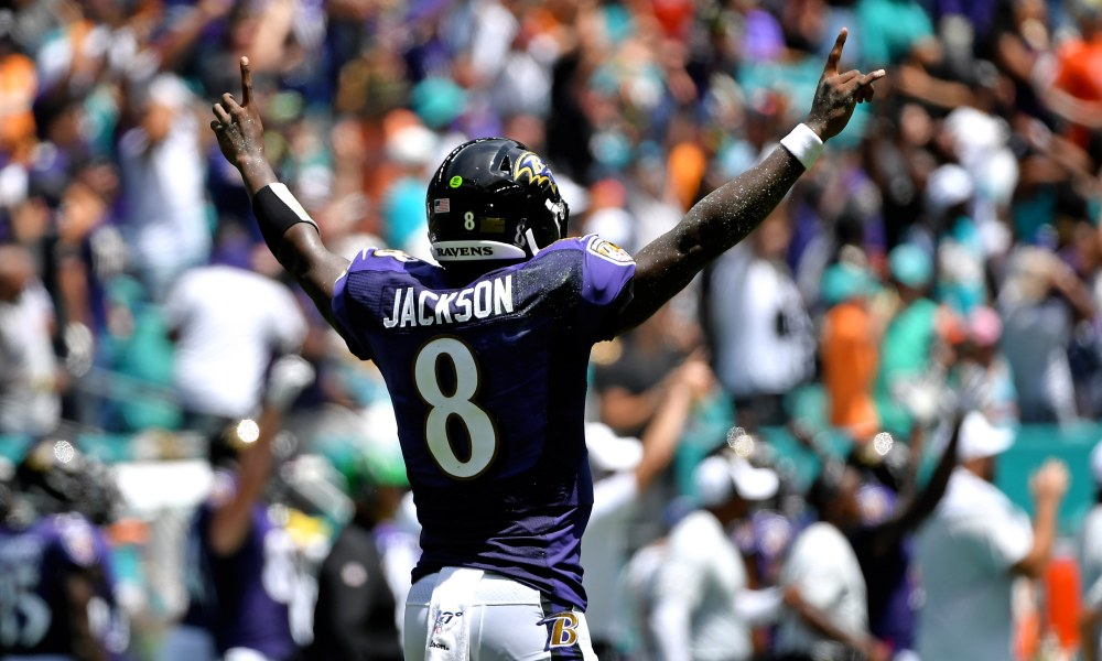 Lamar Jackson - Lamar Jackson continues to prove doubters wrong after 5 passing TDs versus the Dolphins in a 59-10 win.