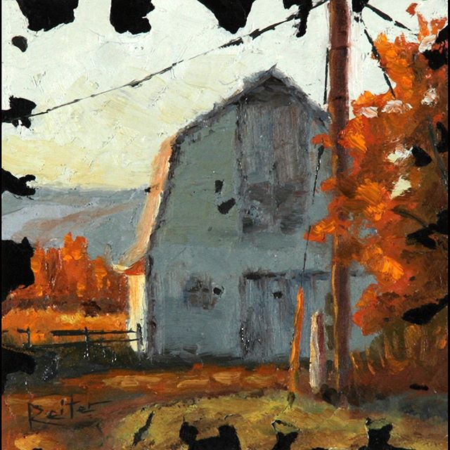 "Beautiful early morning colors on this barn I saw. I love it. Follow more paintings @davereiterart . . . ""Barns of America III"" 6 x 6 inch  Oil and mixed media on wood . . . #landscapepainting #smallpaintings #textures #textureart #oilpaintings #mixedmediaart #autumnleaves #autumnleaves🍂 #autumnvibes #autumncolors #fallcolors #fallcolor #davereiterart #mondayvibes #orangeleaves #earlymornings #orange #barn #barns #rural #rurallife #coloradolove #farmhousedecor #bluegrey #orangeblue"