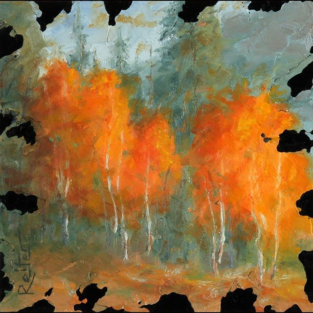"I love this simple grove of aspens. Follow more paintings @davereiterart . . . ""Autumn Aspens V"" 6 x 6 inch Oil and mixed media on board . . . #landscapepainting #smallpaintings #textures #textureart #oilpaintings #mixedmediaart #autumnleaves #autumnleaves🍂 #autumnvibes #autumncolors #fallcolors #fallcolors🍁🍂 #davereiterart #orangeleaves #orange #coloradolove #moodytones #landscapelover #beautifullandscape #aspencolorado #coloradoaspens #optoutside #aspens"