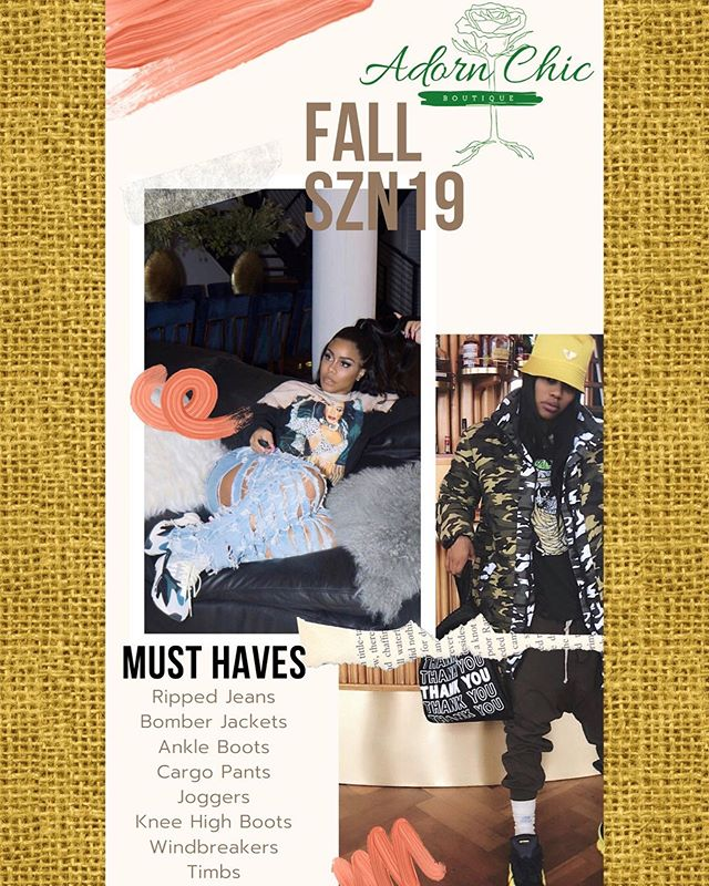 Fall is one of our favorite seasons.🍂 So ready to throw on a nice pair of ripped jeans, a hoodie and some Timbs and walk out the door.🔥 What are you fall must haves? www.adornchicboutique.com  #teyannataylor #miekajoi #fallwear #rippedjeans #armyjacket #adornchic #womensclothing