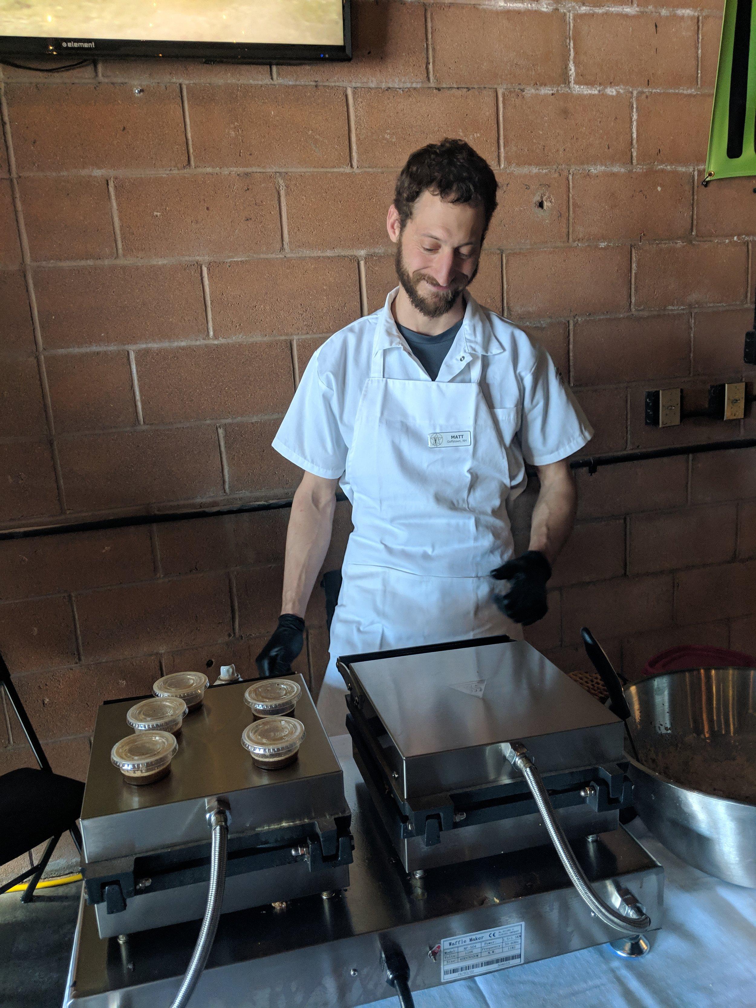 Matt had great fun making waffles today!