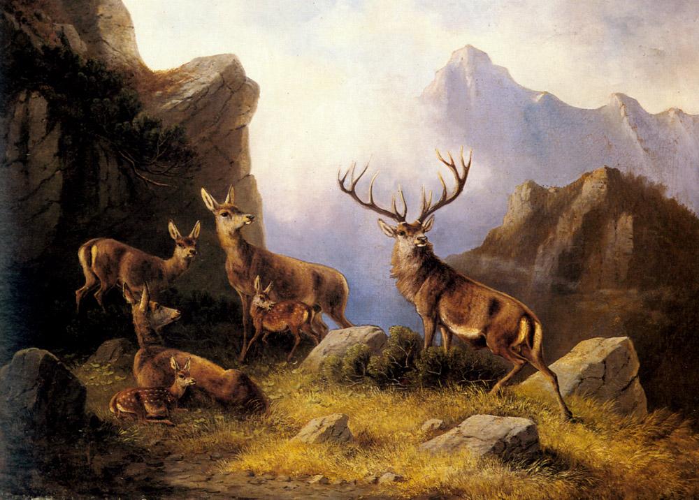 Deer in a Mountainous Landscape , Moritz Muller