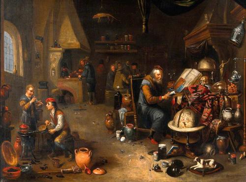 An Alchemist in His Laboratory by Balthasar van den Bossche (1681-1715)