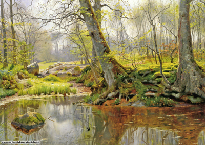 A Tranquil Pond  by Peter Monsted 1890