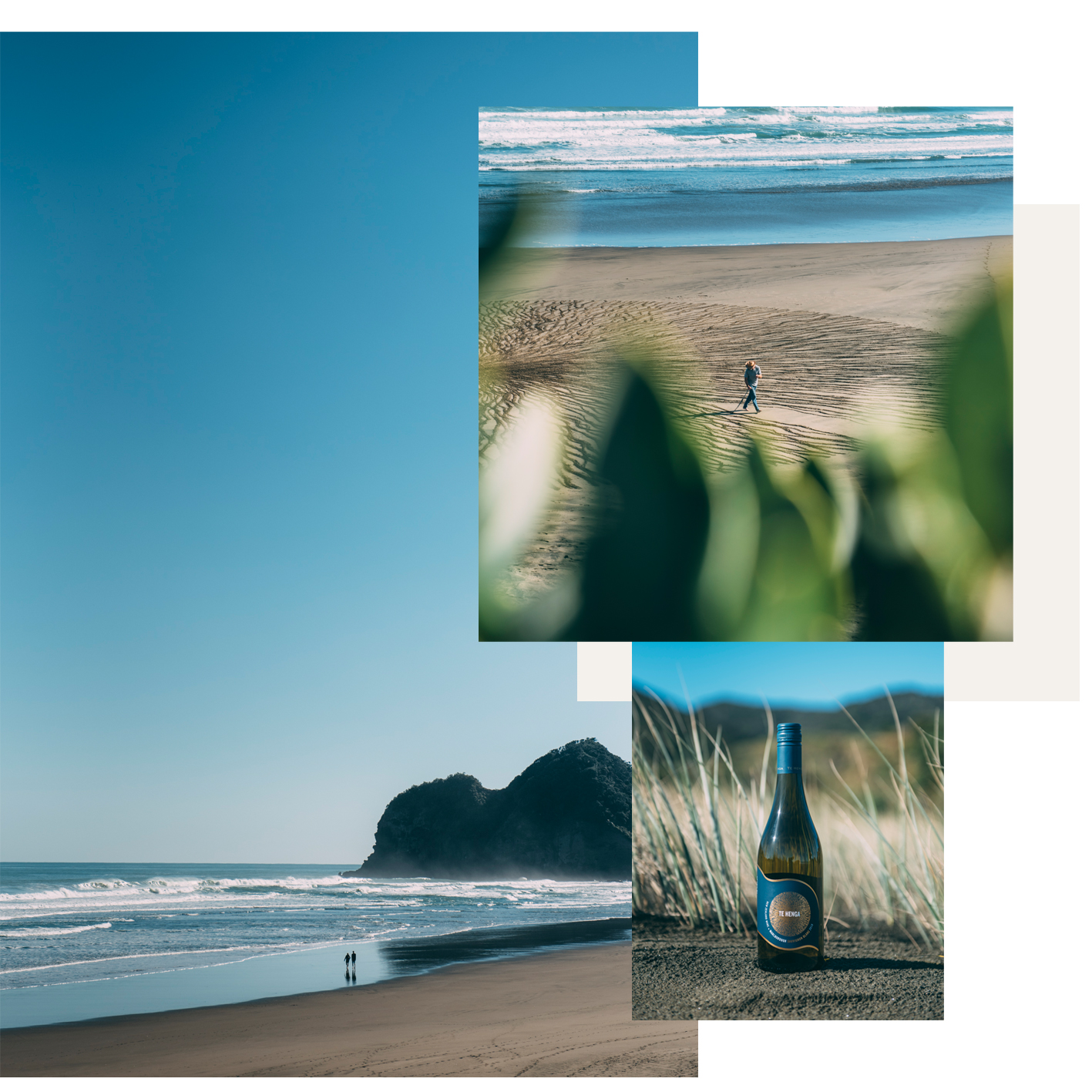INSPIRED BY THE WEST, ENJOYED EVERYWHERE - Taking inspiration from the west coast winds as it whips through the marram grass, Te Henga Wines was a very natural partnership for me to engage in. My client wanted to showcase the wine in their namesake environment of Bethells Beach, Waitakere.Our aim was to capture the essence of the unique rugged landscape and the feeling of enjoying a wine with loved ones. Spoilt with a beautiful landscape, natural textures, and golden West Coast light we had an epic day capturing the amazing sand art and Te Henga Wines beautiful new bottles.