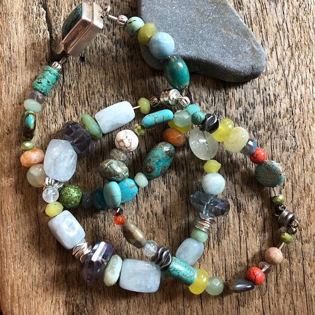 The necklaces and bracelets in this style have been making me so excited! I love the way that I can combine all of my favorite beads to make something new and unexpected that I love just as much as the parts of the whole! ⠀⠀⠀⠀⠀⠀⠀⠀⠀ ⠀⠀⠀⠀⠀⠀⠀⠀⠀ #beadorable #shoplocal #supportlocal #NH #ConcordNH #creativity #madewithlove #selfcare #spoilyourself #handmade #jewelry #jewelrydesign #shopforyou #shophandmade #livefree #HopkintonNH #NewEngland #MollyBrandt #smallbusiness #meaningful #sharethelove