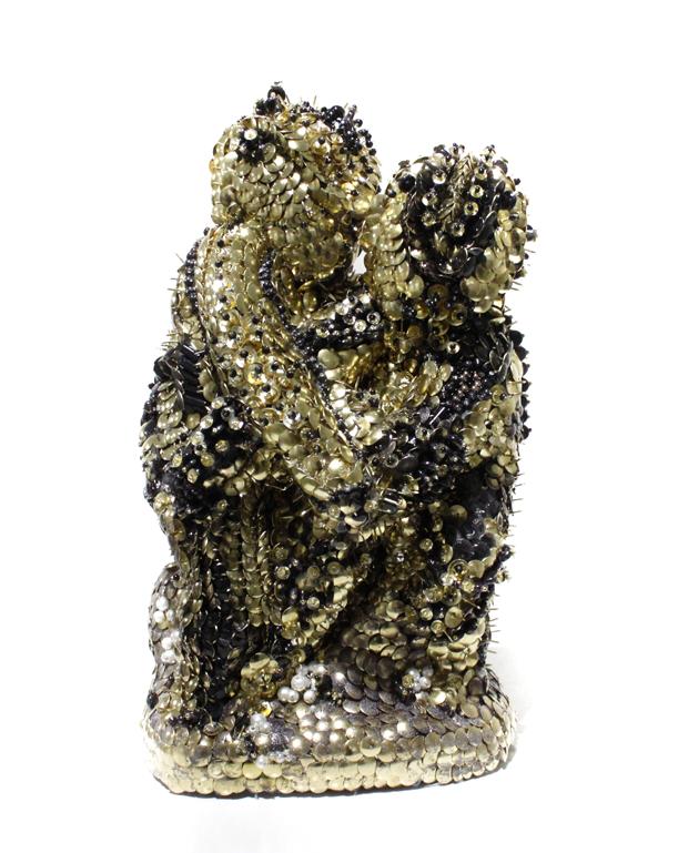 Aniram, 2017 - Brass and glass on plaster, 28 x 22.3 x 18 cm (11 x 8.7 x 7 in.)