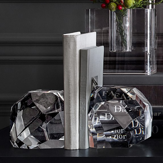 Faceted Crystal Bookends