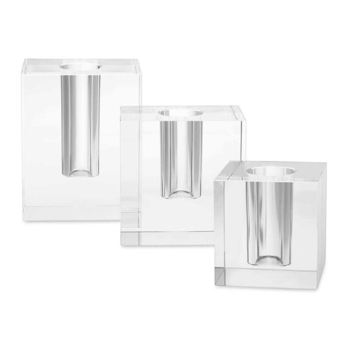 Crystal Block Vases