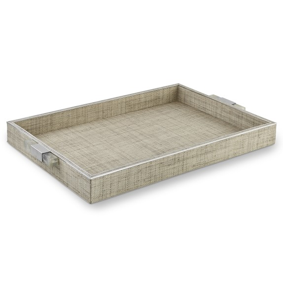 Grey Raffia Tray with Faux Quartz Accents