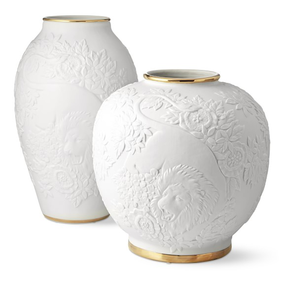 Lion Relief Ceramic Vases